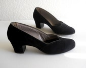 vintage 1950's  French Room black suede shoes