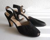 vintage 1940's pleated black strap Jay Bee peep toe sandals