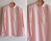 vintage 1980s pink billowy blouse