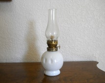 Mini Hurricane Oil Lamp, White Milkglass