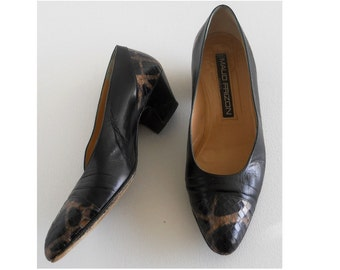 vintage 1980s snake and leather pumps, by Maud Frizon *** PRICE REDUCED 30% OFF original price ***