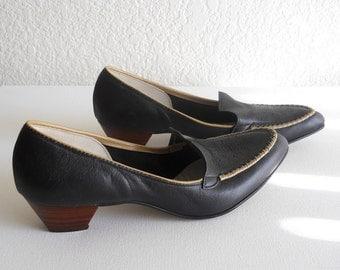 vintage 1970s blue low heel loafers, pinpoint fleur-de-lis design *** PRICE REDUCED ***