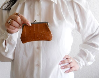 vintage embossed faux leather coin purse