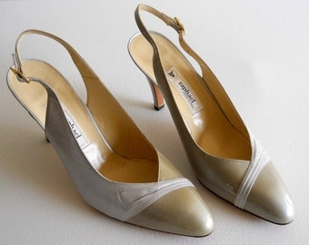 vintage 1980s Raphael slingback heels, white and light tan, camel