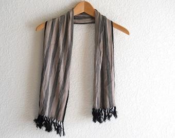 vintage stripped black taupe scarf