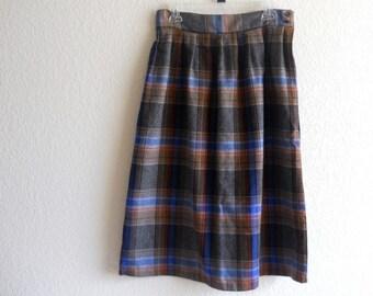 vintage blue gray tartan full skirt, grunge