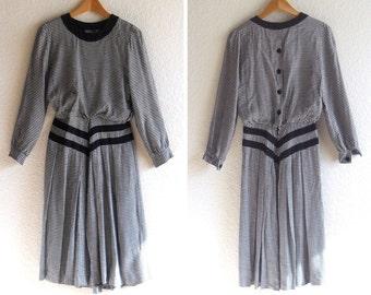 vintage 1970s dress, houndstooth, full skirt