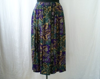 Vintage Skirt - Abstract foliage print. Purple Teal Full-length And Pleated
