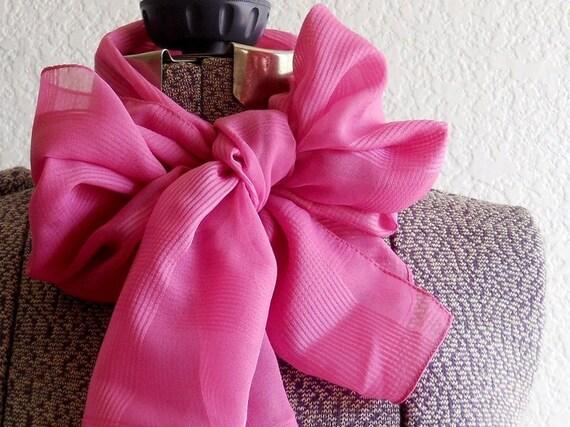 vintage pink textured sheer long scarf