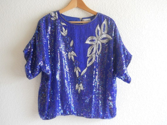vintage cocktail blouse, glamorous silk sequined cobalt blue party top, New Year