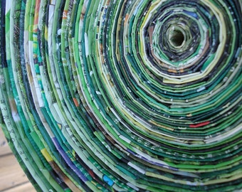 Recycled Magazine Bowl - Shades of Green
