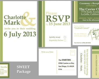 """Wedding Stationary Package (Digital Files for MOO Templates) - """"Sweet"""""""