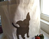 Sueded Chihuahua Canvas Tote