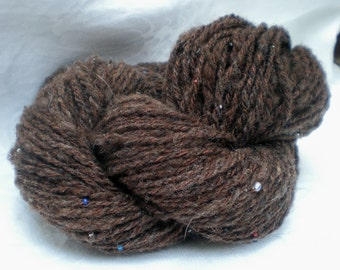 MAHOGANY DREAM beaded Romney wool yarn 112 yards