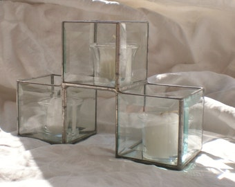 Stained Glass Candle Holder Beveled Glass Centerpiece