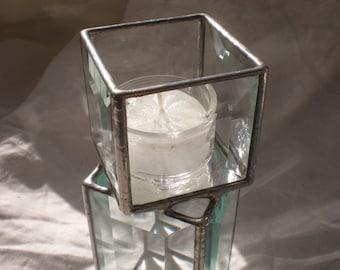 Beveled Glass Candleholder medium pedestal tealight lighting home decor