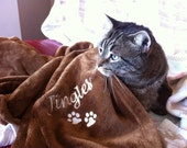 Chocolate Cat Blanket -  Paw Prints W/Personalization