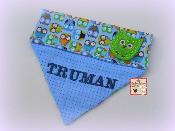 Itty Bitty Owls - Boy Dog Bandana-Slip through the collar - Small to Medium Sizes
