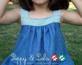 instant download - Blue Flowers Top/Dress PDF Email Sewing Pattern