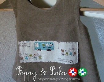 instant download - Cuteness Reversible Pinafore/Tunic PDF Sewing Email Pattern