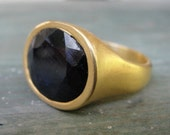 18k Gold Plated and African Sapphire Ring - Blue Sapphire Ring