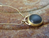 Black Onyx Necklace , Black Onyx Pendant , Gold Necklace , Onyx Necklace , 22k Gold & Black Onyx Necklace