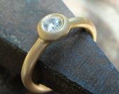 Diamond Engagement Ring - Gold Engagement Ring - 18k Yellow Gold and Diamond Engagement Solitaire Ring
