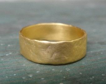 Unique Wedding Band , Texture Wedding Ring , Gold Wedding Band , Handmade Wedding Ring , Unisex Wedding Ring , Organic Flat Ring