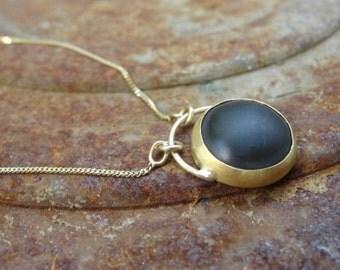 Black Onyx Necklace , Gold Necklace , Onyx Necklace , 22k Gold & Black Onyx Necklace