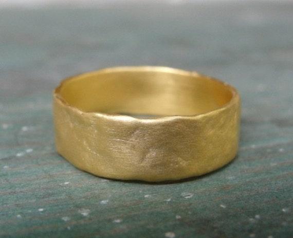 Gold Wedding Band , Handmade Wedding Ring , Gold Wedding Ring - Texture Wedding Ring