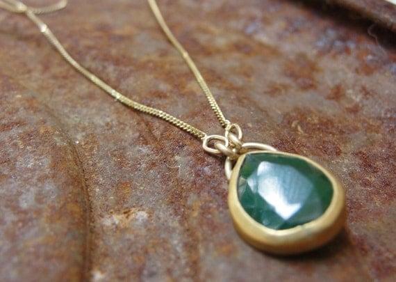 Emerald Necklace - Gold Necklace - 22k Gold Necklace with Emerald - Green Emerald Necklace