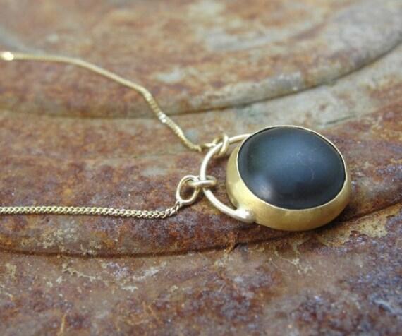 Black Onyx Necklace , Black Onyx Pendant , Gold Necklace , Onyx Necklace , 22k Gold & Black Onyx Necklace