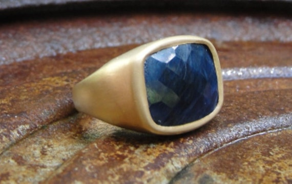 Statement Ring , Sapphire Ring , Blue Sapphire Ring , Cocktail ring , 18k Gold Plated and  Blue African Sapphire Ring