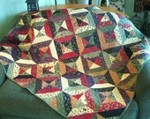 Patchwork Pieced Wall hanging or sofa quilt in warmed up gem colors- Free Shipping- includes hanging fixtures