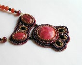 "Bead embroidered necklace ""Pomegranate wine"" Red Rhodochrosite cabochon OOAK"