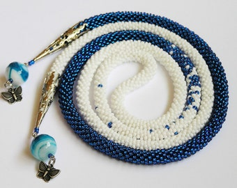 Long Beaded Crochet Rope Necklace Beadwork, Seed beads jewelry, Modern necklace,lariat knitted white blue