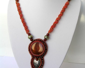 Pendant Necklace bead embroidery natural agate, beads rope,Valentine's Day