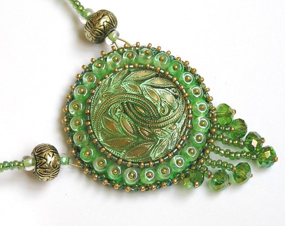 Beaded pendant of Bohemian glass - Magical green necklace FREE SHIPPING