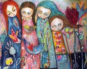 4 wonderful women - art print, mixed media art, women art, wall art, colorful art, family art print