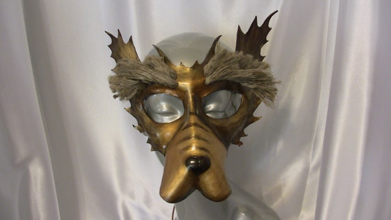 Demon Bear Dog Leather Mask -   Sale Sale Sale