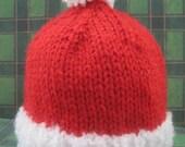 Santa Beanie Hat for Baby:  Newborn, 3 - 6 months, and 6 - 12 months