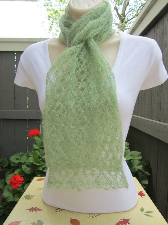 Mohair and Silk Lace Scarf in Meadow (Green)