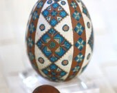 Natural Brown Etched Pysanky, Dyed in Blues