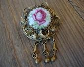 Antique - VTG - Russian Art Nouveau Style - Rose Painted on Porcelain - Ornate - Filigree Work - Gold Tone Metal - Women Brooch