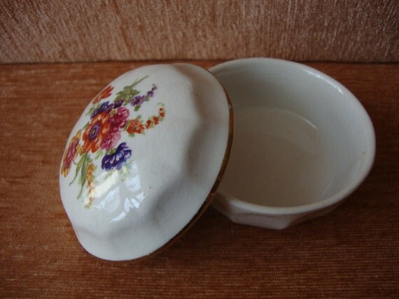 Antique Porcelain Box for Jewelry  with a Pattern from Flowers