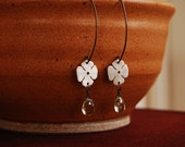 Tiny Sterling Silver Flower with Green Amethyst Drop