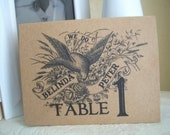 Personalized Vintage Bird With Banners Floral Tented Table Numbers on Kraft Paper - Set of 10