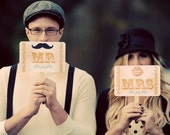 Vintage Look-Circus Carnival Theme-Mr/Mrs/Lips/Mustache-Thank You Double Sided Wedding Photo Props Signs on White Cardstock- Set of 2