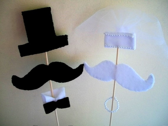 Mr and Mrs Bride and Groom Mustache Cake Toppers - Set of 2