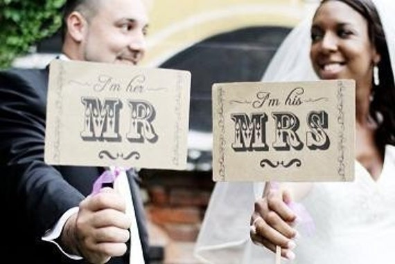 The ORIGINAL Mr and Mrs - Thank You - Wedding - Double Sided Photo Props Sign on Kraft Paper - Set of 2